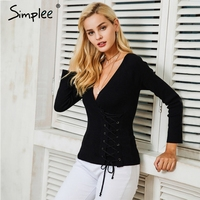 Simplee V Neck Lace Up Knitting Sweater Women Slim Christmas Sweater Female Autumn Winter Fashion Jumper