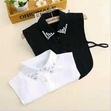 2017 New Women False Detachable Collar Sweater Shirt Fake Collars Vintage Diamond Crystal Beading Chiffon Nep Kraagje Blouse