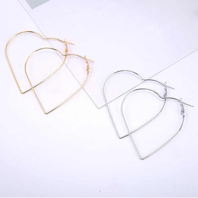 Inrrabc Simple en forma de corazón ahueca hacia fuera única sección delgada dorada exquisita pendientes de aro accesorios de joyería de moda