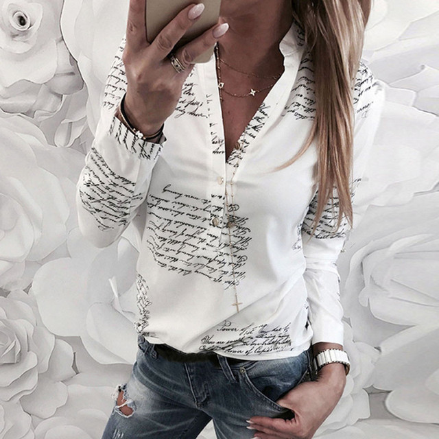 2f4f6a9de38 Women Plain Vogue Letters White Shirts Blouse Female Casual Long Sleeve V  Neck Button Blouses Shirt Tops Femme 2019 30-in Blouses   Shirts from  Women s ...