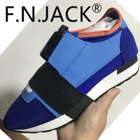 FNJACK Multi Material Race Runner Sneakers Women's Shoes Genuine Suede Leather Mesh Italian Design Trainers