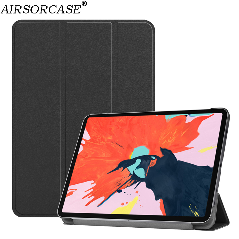12.9'' for Apple iPad Pro 12.9 2019 Tablet Case PU Leather Cases Solid Smart Sleep Protective Shell fold Kickstand PC Back Cover