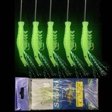 Bimoo 5 шт./компл. световой Креветочный крючок рыболовные приманки Sabiki установок с 5 Крючки морская маячок для рыбалки приманки мягкие приманки рыболовные крючки