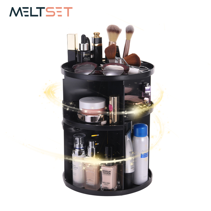 360-Degree Rotating Makeup Organizer Cosmetic Sotrage Box Jewelry Brush Lipsticks Holder Case Women Destktop Dresser Organizer