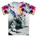 2016 verão nova moda o pensador impressão abstrato t-shirt Unisex Boy Girl Casual t 3d camisa para crianças harajuku camiseta