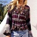 Zanzea blusas femininas 2017 nuevas mujeres de la impresión floral de la vendimia blusas mujer casual manga larga de cuello v delgado otoño invierno camisas