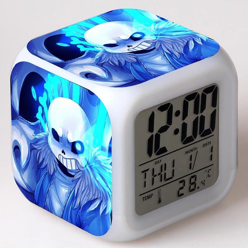 Undertale Game Figurine LED Colorful Flash Touch light Alarm Desk Watch Brinquedo Menino PVC Anime Figure Kids Toys