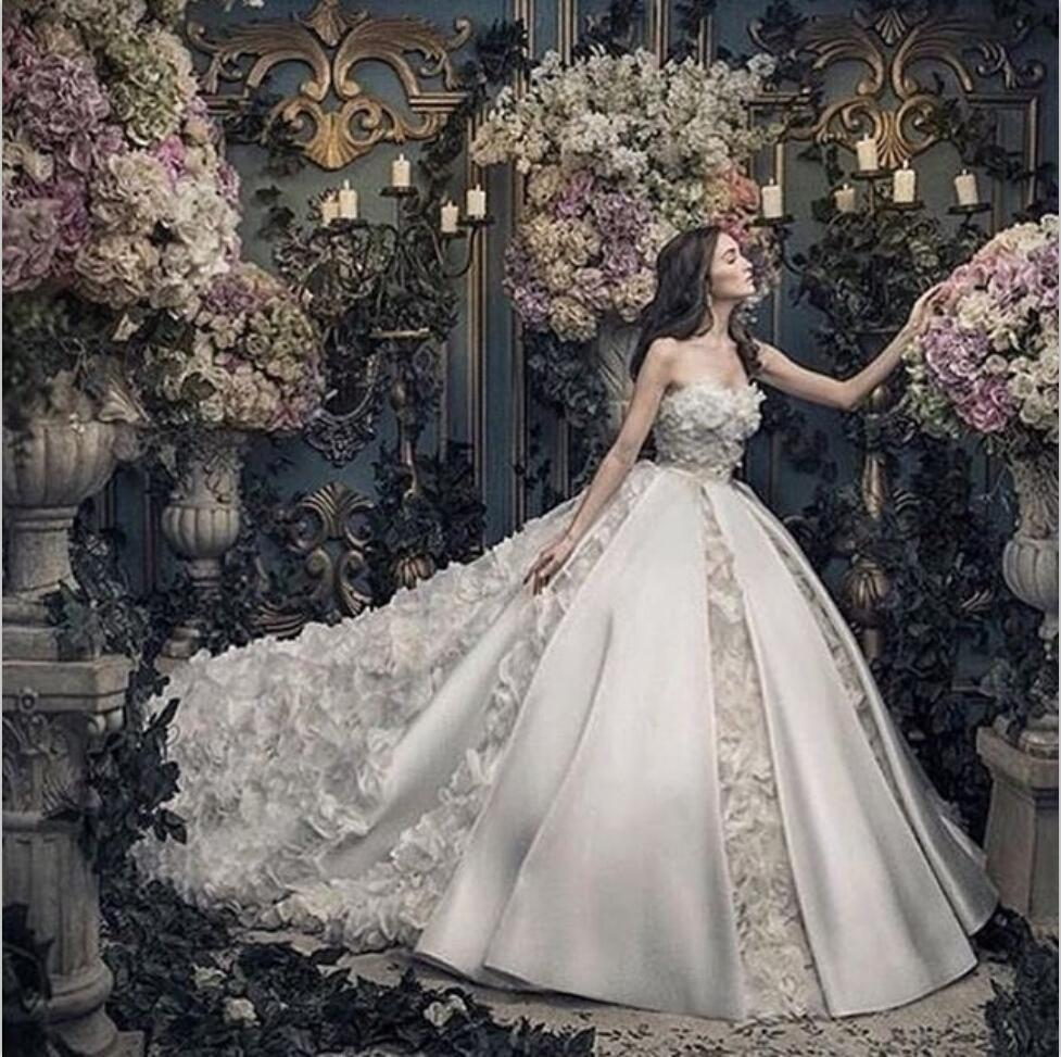 New Sweetheart Ball Gown Wedding Dress 2017 Organza Satin