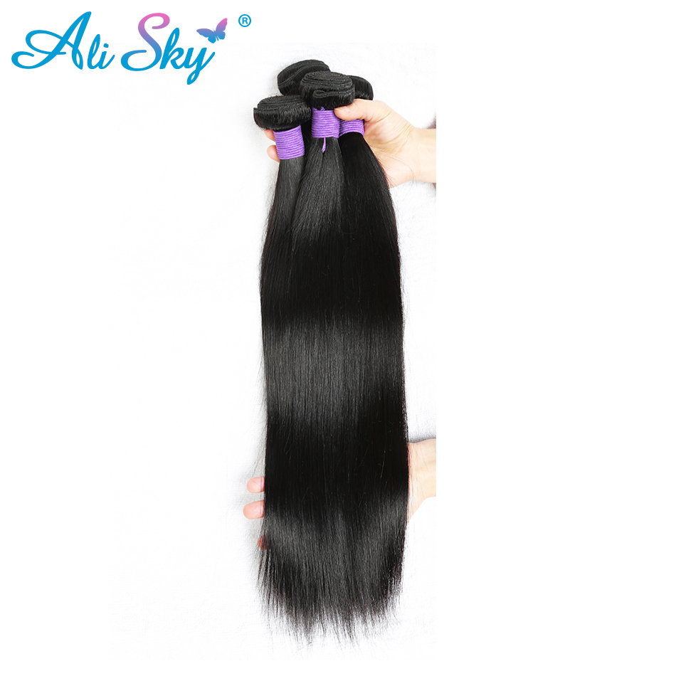 [Ali Sky] cheveux brésiliens droite 100% non remy cheveux humains tissage faisceaux peuvent être courbés 10-26 pouces livraison gratuite peut être teint