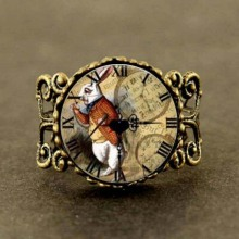 Alice in Wonderland rabbit watch adjustable ring Fairytale