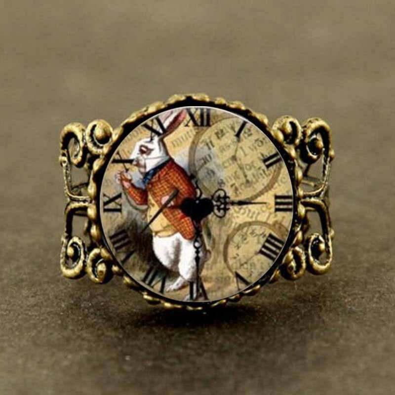 Alice in Wonderland rabbit watch adjustable ring Fairytale girl women men friends gift vintage antique charms silver bronze time
