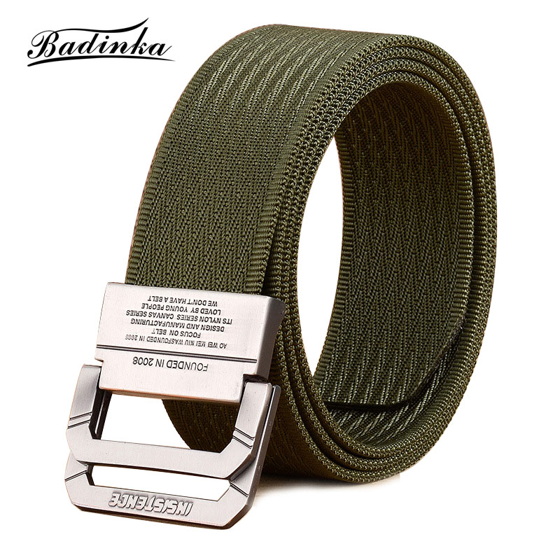Badinka 2018 New Designer Nylon Canvas Double D Ring Buckle   Belt   Men Casual Outdoor Sports Military Tactical Web Waistband   Belts