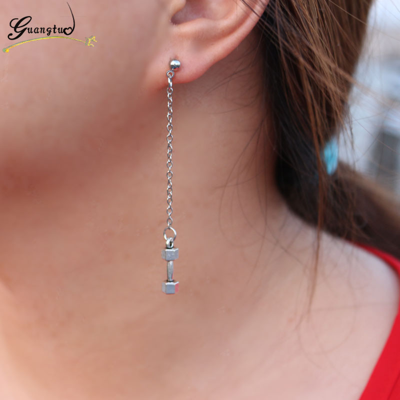 Punk Dumbbell Barbell Long Chain Tel Drop Earrings For Women Men Piercing Jewelry Oorbellen Brincos Boucle D Oreille Bijoux In From