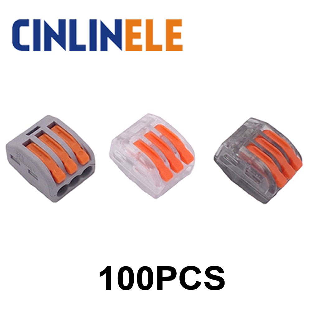 100pcs WAGO mini fast Wire Connector 222-413(PCT213) Universal Compact Wiring Connector 3 pin Conductor Terminal Block mini fast wago connector mixed model set universal compact wire wiring connector 1 2 3 4 5 conductor terminal block