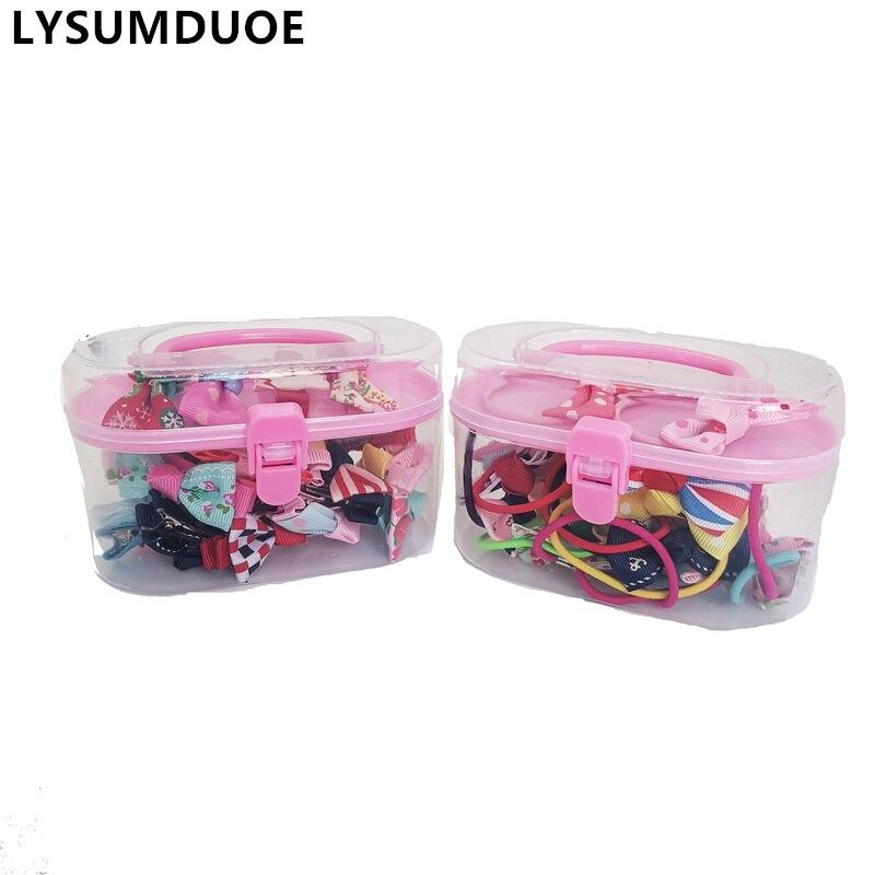 20Pcs/Set Flower Hair Clip Ribbon Bows Elastic Hair Band Cartoon Box Set Hairpin Xmas Gift Scrunchy New Girls Hair Accessories