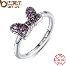 BAMOER Minnie's Sparkling Bow Ring with Purple and Clear CZ 100% 925 Sterling Silver Jewelry 2016 New Collection PA7139