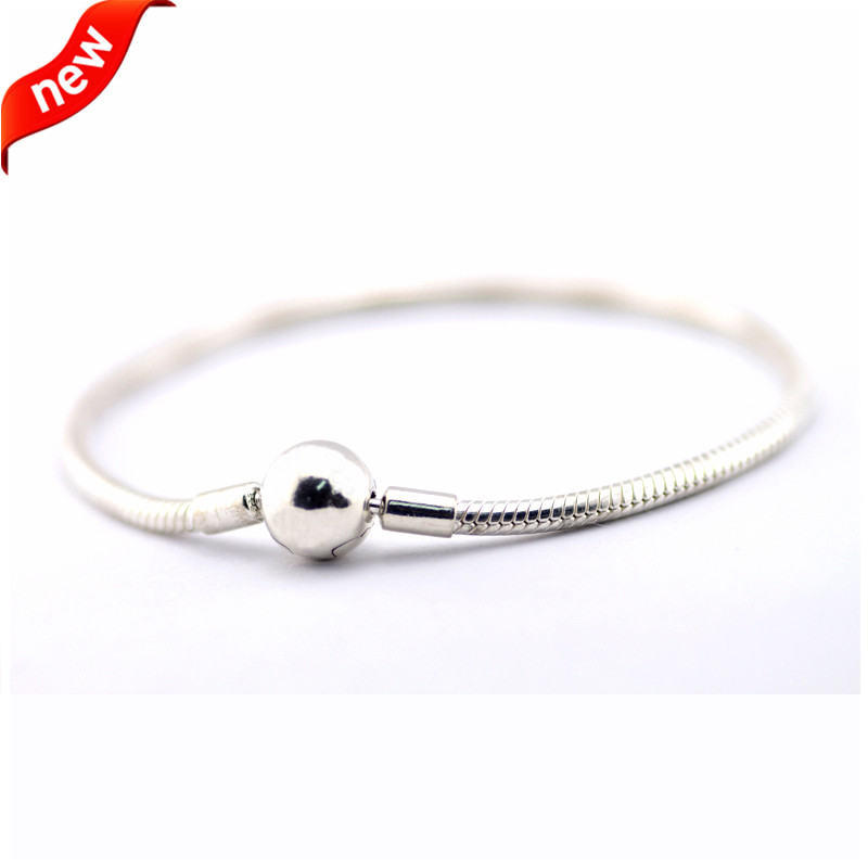 Real 925 Sterling Silver Bracelets & Bangles Snake Chain Silver Bracelet with Round Clasp for Women DIY Fit Original Charm BeadsReal 925 Sterling Silver Bracelets & Bangles Snake Chain Silver Bracelet with Round Clasp for Women DIY Fit Original Charm Beads