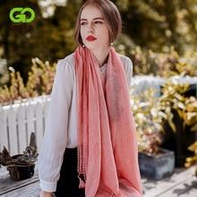 GOPLUS 2019 Spring Winter Lace Scarf Tassal Women Cotton solid Patchwork luxury shawls hijab Vintage silk scarves Female bandana