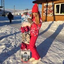 Лыжный костюм женский комплект ветрозащитная Водонепроницаемая теплая одежда куртка лыжные штаны, снежные костюмы зимние лыжные и сноубордические костюмы бренды