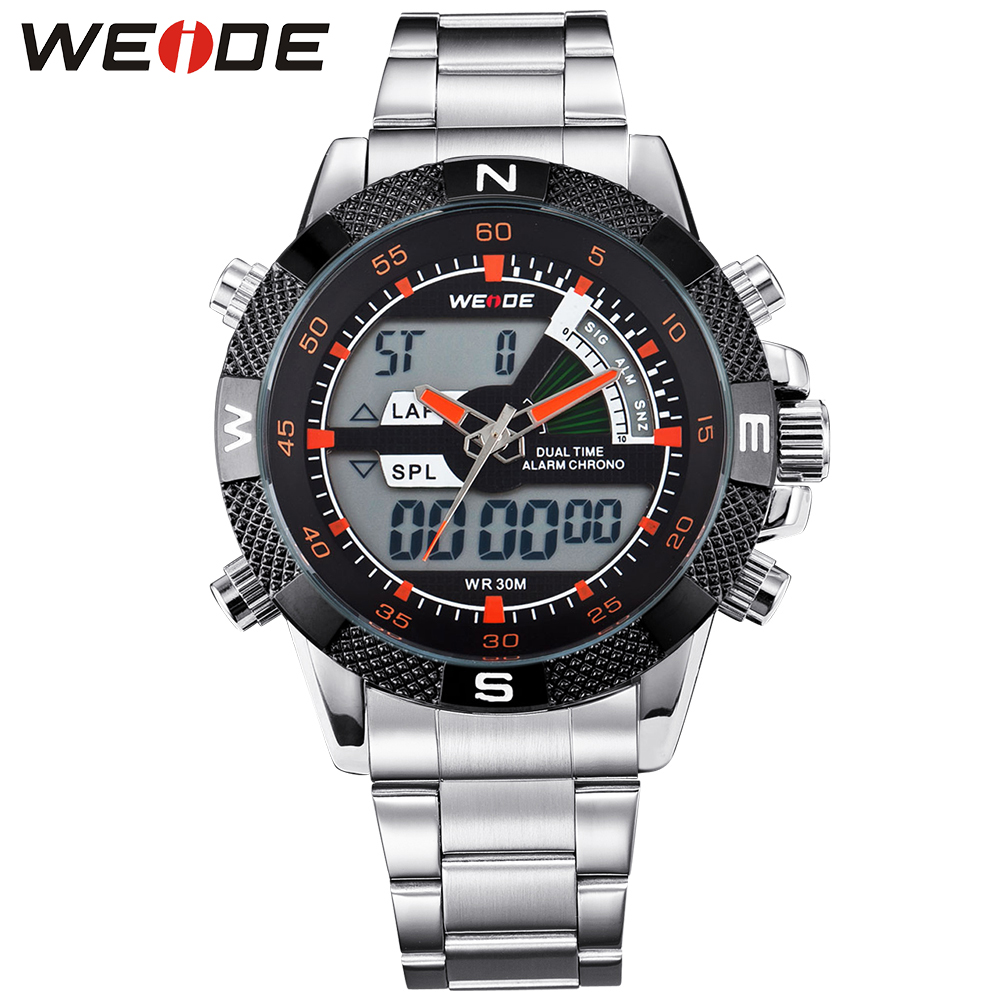 ФОТО WEIDE Military Army Waterproof Watches For Men Stainless Steel Band Mens Quartz Analog Digital Display Multi-Functional Watch