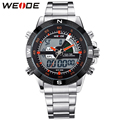 WEIDE Military Army Waterproof Watches For Men Stainless Steel Band Mens Quartz Analog Digital Display Multi-Functional Watch