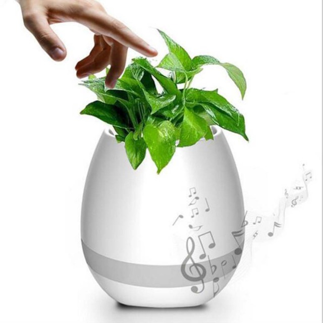 New Smart Led Bluetooth Music Vase Speaker Real Plant Touch Sensing