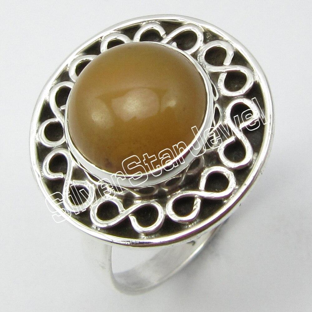 Silver ORANGE AVENTURINE Antique Look Ring Size 6.75 ! Brand New