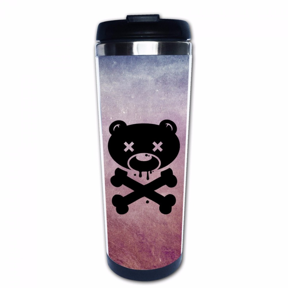 Zombie Bear skull Stainless Steel Tumbler Set Personalized Coffee Mugs 14 oz Insulated - By Sensible Needs - Perfect Gift