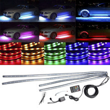 Set Light Strips Neon Accessories Replacement 12V Decorative 4pcs Auto LED Tube Underglow Underbody 30W Lamp beads(China)