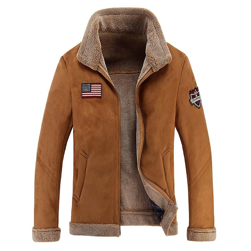 New Winter Faux Fur Coats Motorcycle Leather Jacket Men Vintage Luxury Fleece Sheepskin Pilot Biker Bomber Leather Jacket Men Куртка