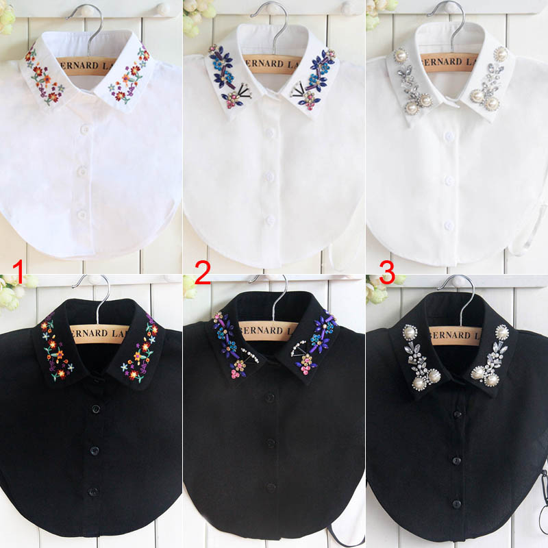 Fashion Women Shirt Fake Collar Detachable Crystal Flower False Collars Lapel Blouse Top Lady Girl Clothes Accessories NYZ Shop