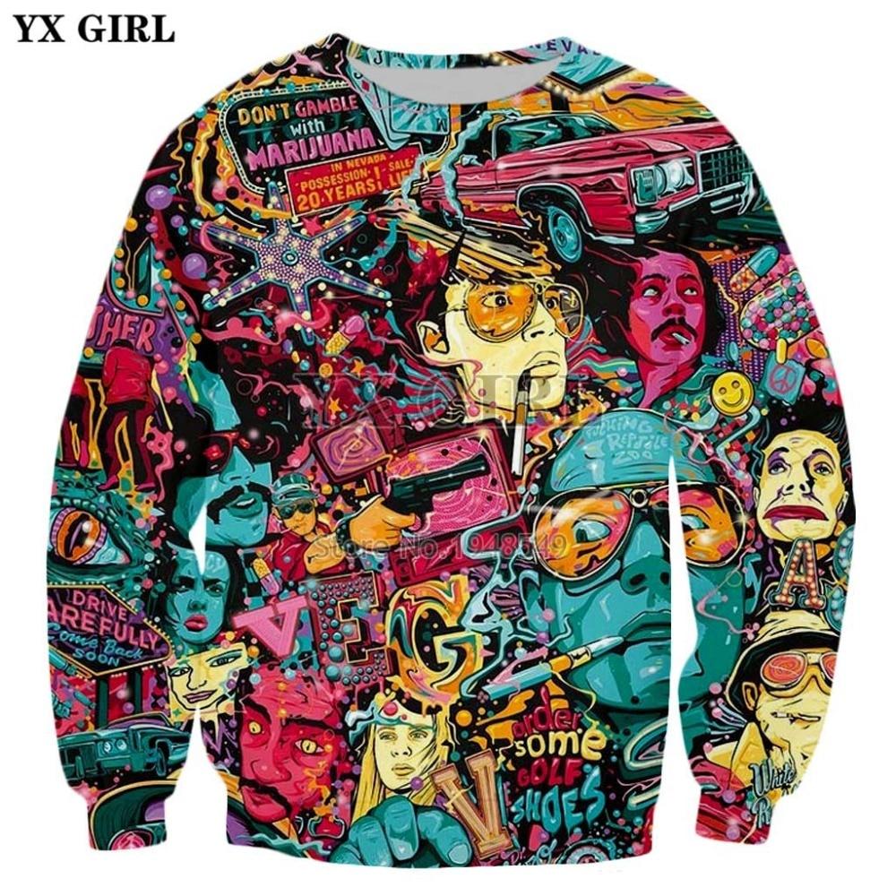 2020 New Style Fashion Sweatshirt Fear And Loathing In Las Vegas Print 3d Long Sleeve Sweatshirt Men's / Women's Hoodies