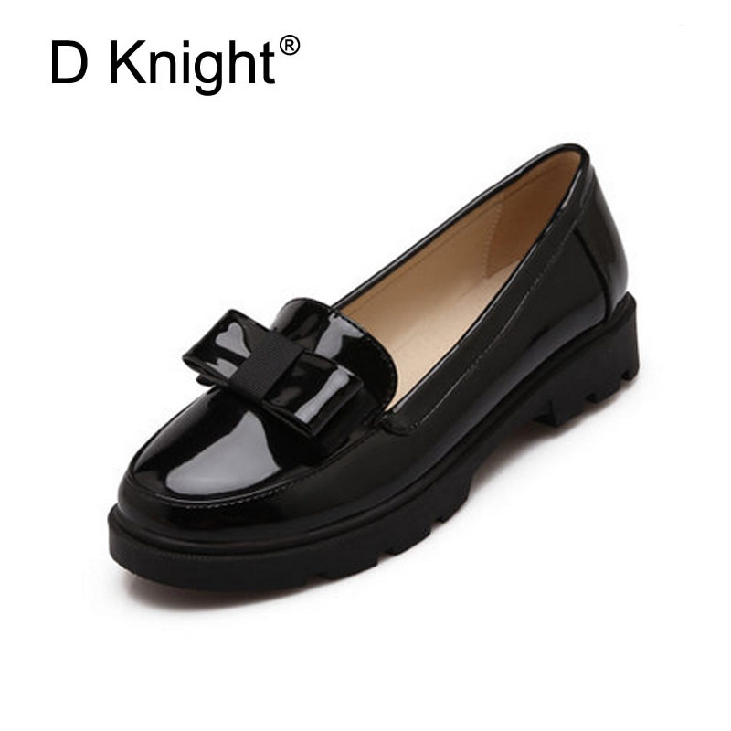 Sweet Bow Patent Women Slip-on Casual Flat Oxford Shoes Fashion Girls Casual Flat Shoes Round Toe Loafers Shoes Women Size 34-42 newest lady spring autumn shoes slip on lady soft leather flat platform fashion casual shoes women round toe loafers size 34 43