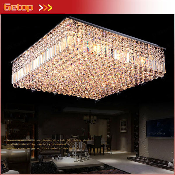 New Arrival Modern Luxury Ultra-dense Square LED K9 Crystal Chandeliers Villa Restaurant Lights Ceiling Lightings Fixture