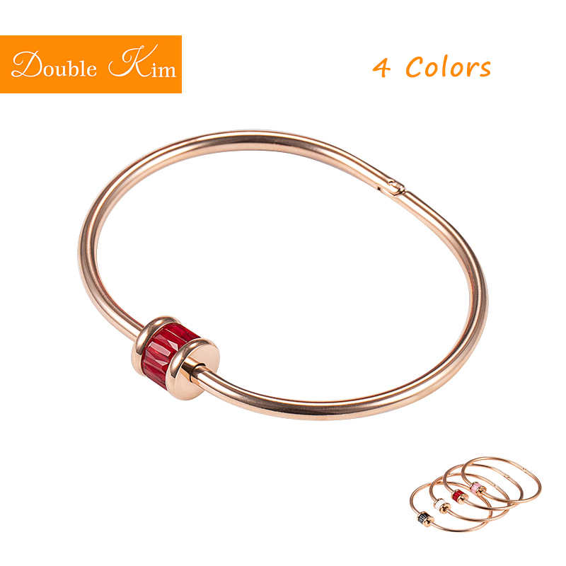 4 Colors Crystal Bracelet Rose Gold Bangles Titanium Steel Material No Skin Damage Fashion Trendy Women Jewelry Birthday Gift