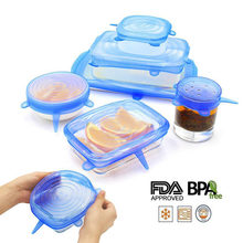 6 Pcs/ Set Silicone Cover Fresh Keeping Silicone Stretch Lids Caps For Food Pot Dish Kitchen Accessories tampa de silicone(China)