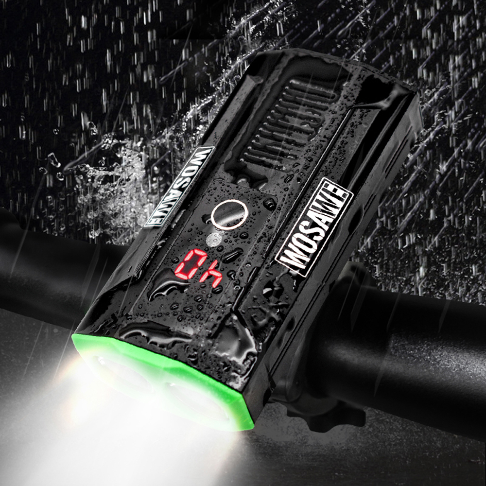 WOSAWE vélo lumière 2400 Lumens USB Rechargeable vélo lumière lampe de poche sécurité vtt randonnée torche batterie externe pour iPhone xiaomi