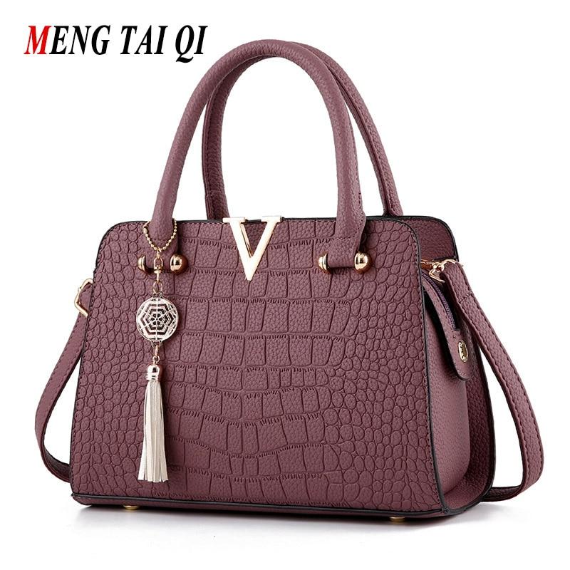 Crocodile Pattern Women Bag Handbags Women Messenger Bags Crossbody Shoulder Bags Ladies Tassel Women Leather Handbags Brands 5