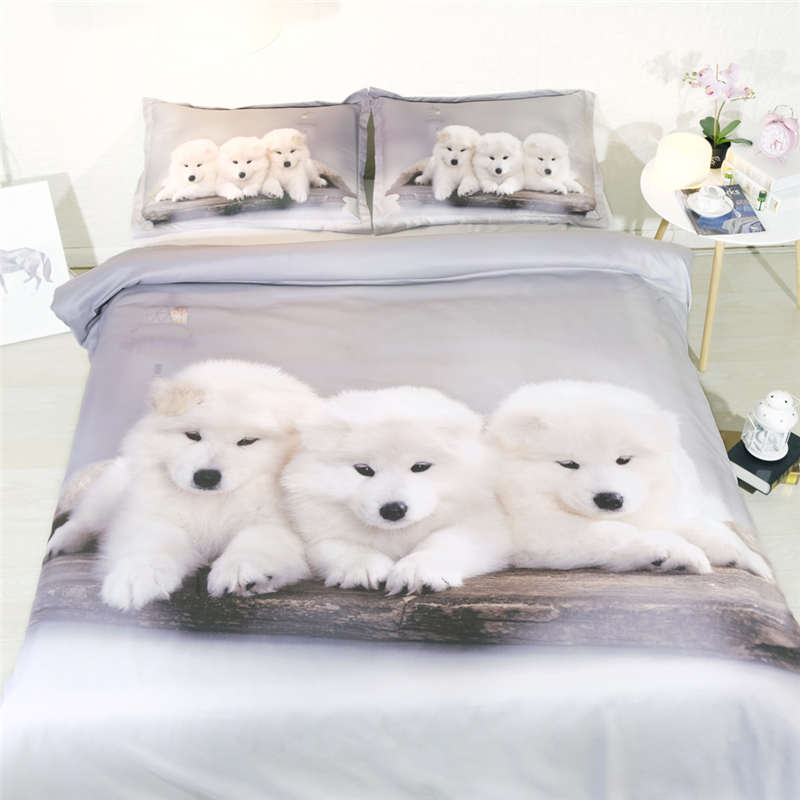 Queen Bed Bedding Set.Us 44 62 29 Off Cute Bedding Sets Queen Size White Dog Duvet Cover 3d Silver Bedlinens Kids Bed Clothes Animal Home Textile 3pcs Girls Bedspread In
