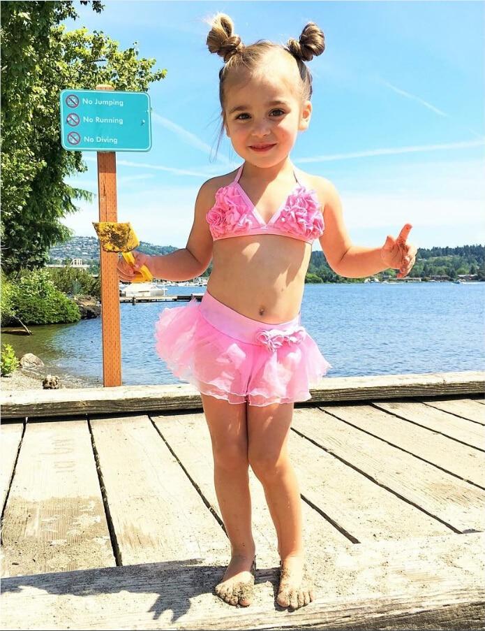 Dvoudílné dětské holky String plavky Malá holčička Květina plavky plavky Sukně Bikini plavky Kostým plavky oblečení  t