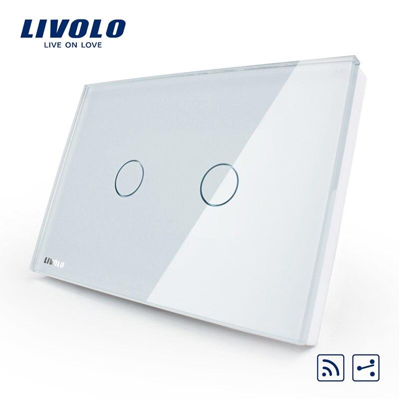 Livolo US AU standard 2 Gang 2 Way Wireless Remote Wall Light Switch White Crystal Glass