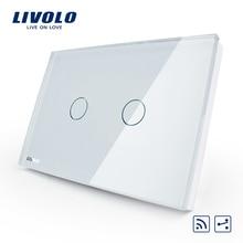Interruptor de luz de pared remoto inalámbrico Livolo US/AU estándar 2 Gang 2 Way, Panel de cristal blanco, VL C302SR 81, sin mando a distancia