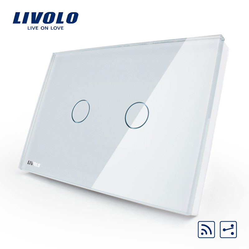 Livolo US/AU standard 2 Gang 2 Way Wireless Remote Wall Light Switch,White Crystal Glass Panel,VL-C302SR-81,No remote controller us au standard 2 gang 1 way glass panel smart touch light wall switch remote controller white black gold