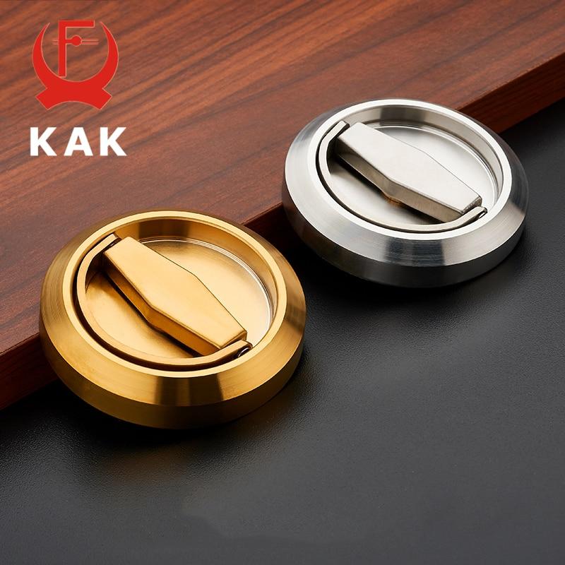 KAK 304 Stainless Steel Recessed Invisible Cup Door Handle Privacy Hidden Door Locks Cabinet Pulls Fire Proof Disk Ring Handle