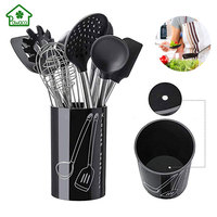 9 Pcs/set Silicone Cookware Sets Stainless Steel Handle Kitchenware Nonstick Cookware set Spoon Clip Spatula Brush Kitchen Tool
