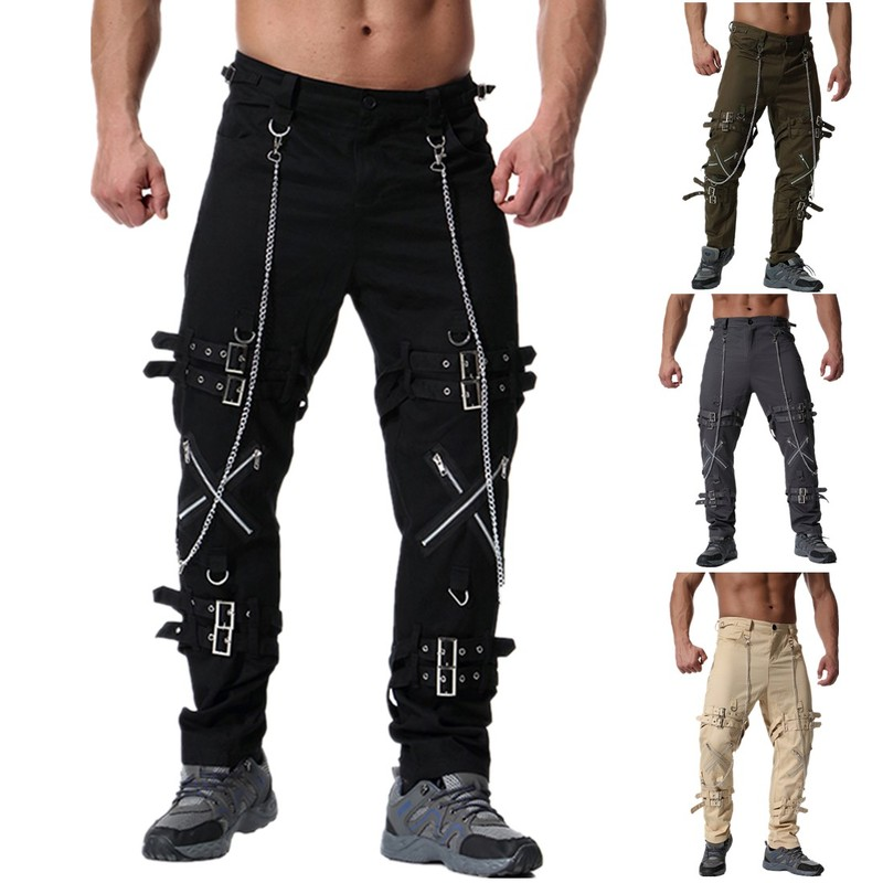 2019 Devil Fashion Punk Men's Detachable Pants Steampunk Gothic Black Scotland Kilt Trousers Man Casual Cotton Pants With Kilt