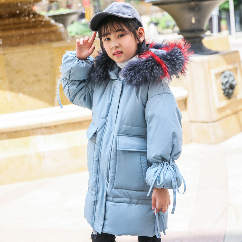 2018 New Fashion Children Winter Jacket Girl Winter Coat Kids Warm Thick Fur Collar Hooded long down Coats For Teenage 6-14Y