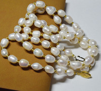 Rare fine Large 15 23mm White Unusual Baroque Pearl Necklace disc Clasp 18 /