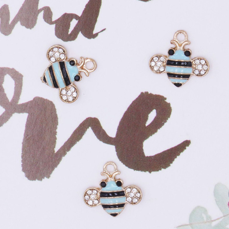 Engood 2018New 10Pcs Animals Bees Rhinestone Button for DIY Hair accessories or earring and necklace Pendants decoration BT104