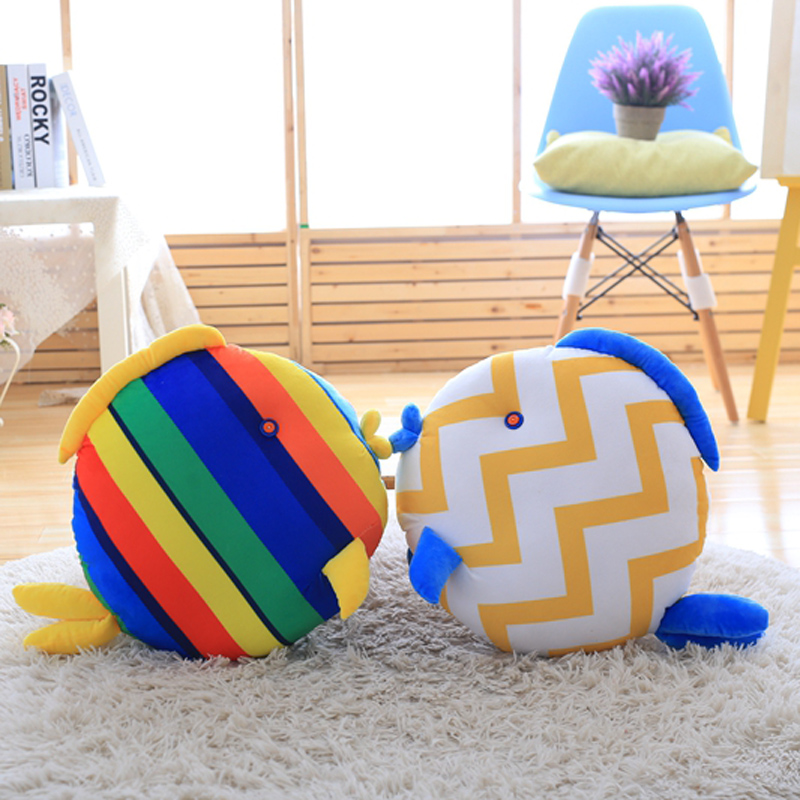 Nooer Soft Kiss Fish Stuffed Sleeping Pillow Bed Sofa Round Cushion Plush Tropical Fish Toy For Children Kids Doll Birthday Gift